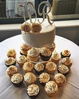 Classic style cupcakes with bedazzle letters